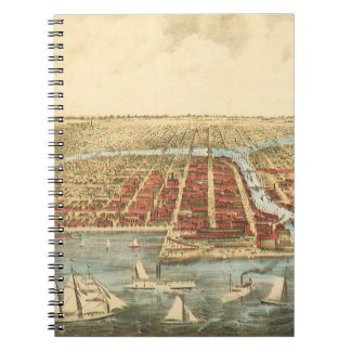 Antique Map of Chicago, LaSalle Street and River Spiral Notebook