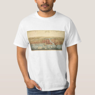 Antique Map of Chicago, LaSalle Street and River T-Shirt