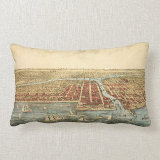 Antique Map of Chicago, LaSalle Street and River Throw Pillows