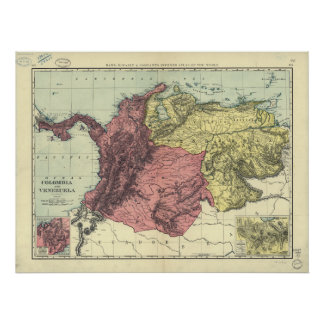 Antique Map of Colombia Venezuela 1898 Print