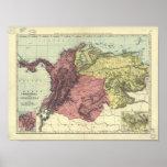 Antique Map of Colombia & Venezuela 1898 Poster