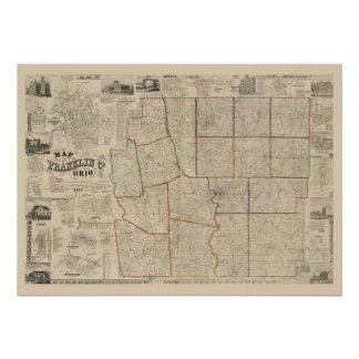 Antique Map of Columbus, Ohio & Franklin County Poster