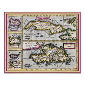 Antique Map of Cuba, Haiti, Caribbean Islands Poster