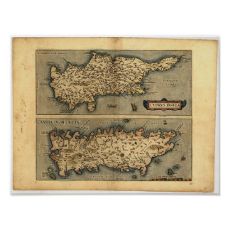 Antique Map of Cyprus ORTELIUS ATLAS 1570 A.D. Poster