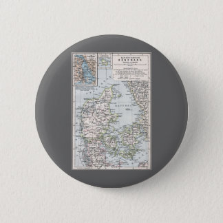 Antique Map of Denmark, Danmark in Danish, 1905 Button