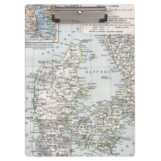 Antique Map of Denmark, Danmark in Danish, 1905 Clipboard