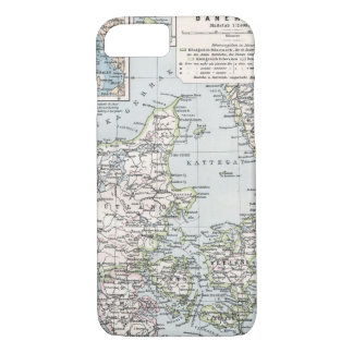 Antique Map of Denmark, Danmark in Danish, 1905 iPhone 7 Case