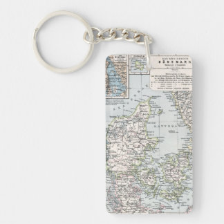 Antique Map of Denmark, Danmark in Danish, 1905 Keychain