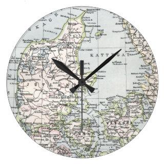 Antique Map of Denmark, Danmark in Danish, 1905 Large Clock