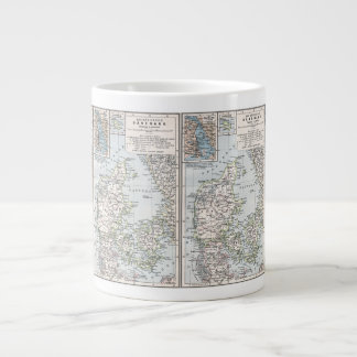 Antique Map of Denmark, Danmark in Danish, 1905 Large Coffee Mug