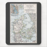 Antique Map of Denmark, Danmark in Danish, 1905 Mouse Pad