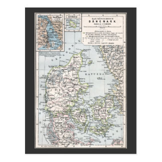 Antique Map of Denmark, Danmark in Danish, 1905 Postcard
