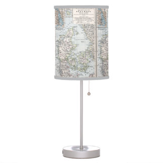Antique Map of Denmark, Danmark in Danish, 1905 Table Lamp
