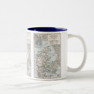 Antique Map of Denmark, Danmark in Danish, 1905 Two-Tone Coffee Mug