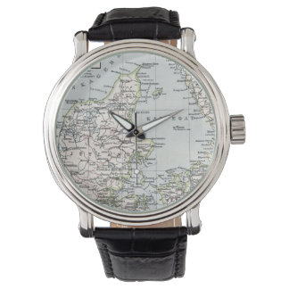 Antique Map of Denmark, Danmark in Danish, 1905 Wristwatch