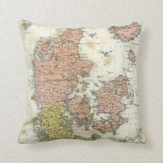 Antique map of Denmark Throw Pillows