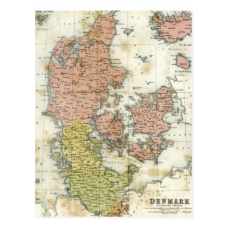 Antique map of Denmark Postcard