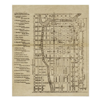 Antique Map Of Downtown Chicago Illinois Rustic Poster