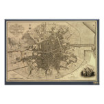 Antique Map of Dublin Ireland, 1797 Poster