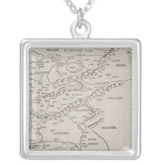 Antique Map of Eastern Europe Square Pendant Necklace