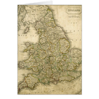 Antique Map of England and Wales Card