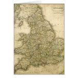 Antique Map of England and Wales Greeting Cards