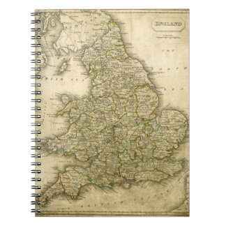 Antique Map of England and Wales Notebook