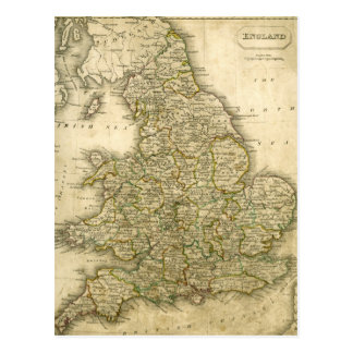 Antique Map of England and Wales Postcard