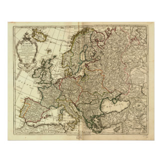 Antique Map of Europe 1769 Posters