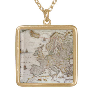 Antique Map of Europe by Willem Jansz Blaeu, c1617 Gold Plated Necklace