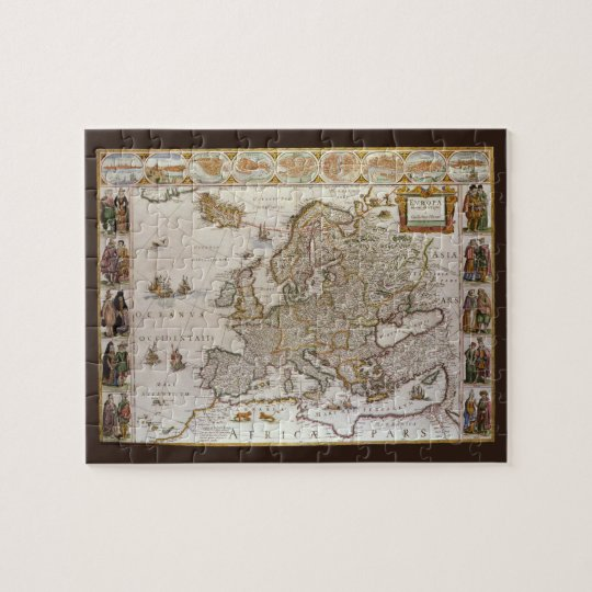 Antique Map of Europe by Willem Jansz Blaeu, c1617 Jigsaw Puzzle