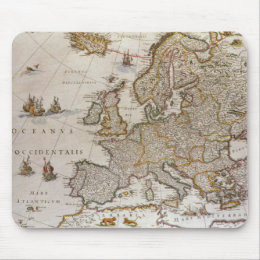 Antique Map of Europe by Willem Jansz Blaeu, c1617 Mouse Pad