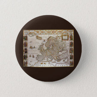 Antique Map of Europe by Willem Jansz Blaeu, c1617 Pinback Button