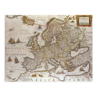 Antique Map of Europe by Willem Jansz Blaeu, c1617 Postcard