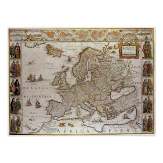 Antique Map of Europe by Willem Jansz Blaeu, c1617 Poster
