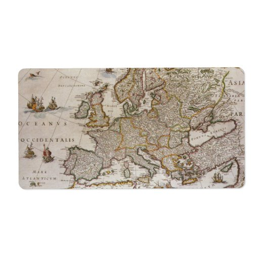 Antique Map of Europe, c1617 by Willem Jansz Blaeu Personalized Shipping Label