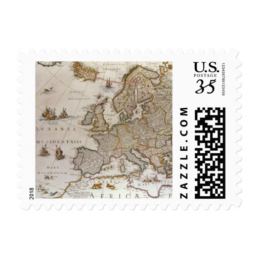 Antique Map of Europe, c1617 by Willem Jansz Blaeu Stamps