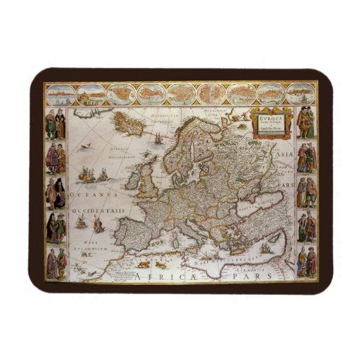 Antique Map of Europe, c1617 by Willem Jansz Blaeu Magnets