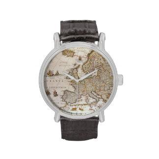 Antique Map of Europe, c1617 by Willem Jansz Blaeu Wrist Watches
