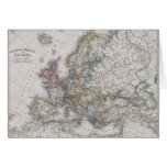 Antique Map of Europe circa 1862 Greeting Card