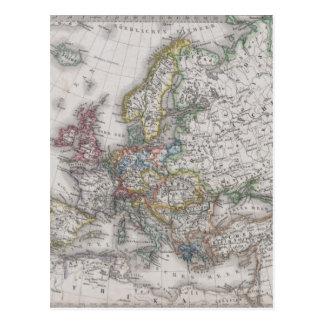 Antique Map of Europe circa 1862 Postcard