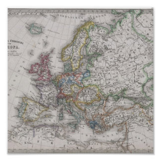 Antique Map of Europe circa 1862 Poster