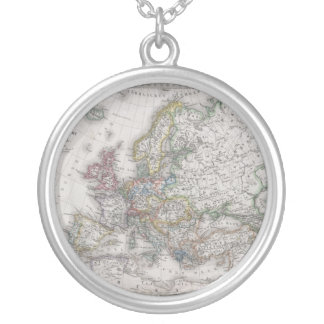 Antique Map of Europe circa 1862 Round Pendant Necklace
