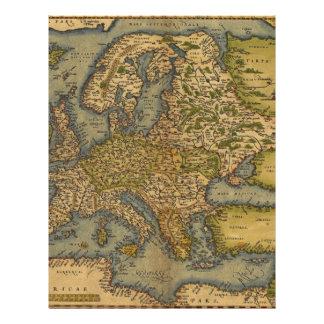 Antique Map of Europe Custom Letterhead