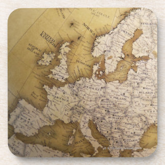 Antique map of europe. Old world. Beverage Coaster