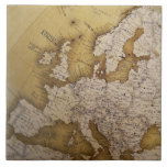 Antique map of europe. Old world. Large Square Tile