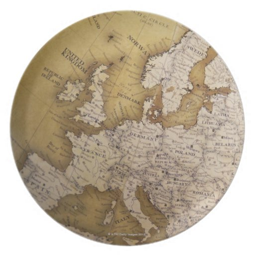 Antique map of europe. Old world. Plates
