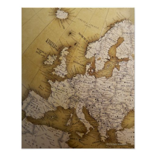 Antique map of europe. Old world. Posters
