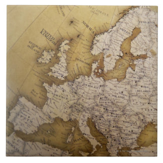 Antique map of europe. Old world. Tile