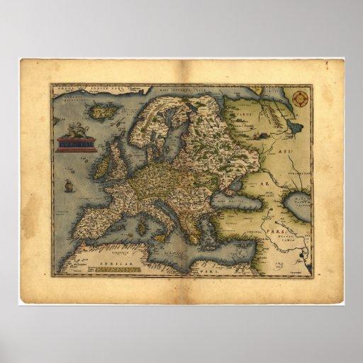 Antique Map of Europe ORTELIUS ATLAS 1570 A.D. Print